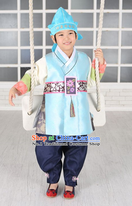 Korean Fashion National Costumes Hanbok Clothes Complete Set for Kids