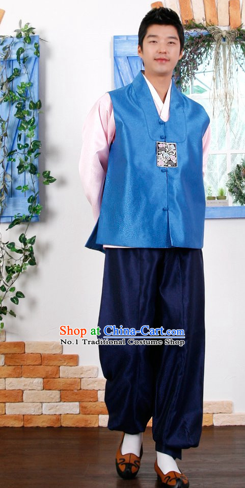 Top Korean Traditional Hanbok Birthday Ceremonial Dress Complete Set for Men