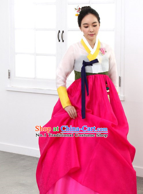 Top Korean Traditional Hanbok Birthday Ceremonial Clothes Complete Set for Women