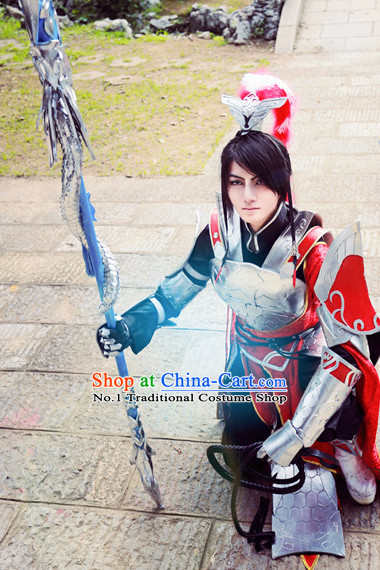 Chinese Cosplay General Warrior Costumes and Hat Complete Set