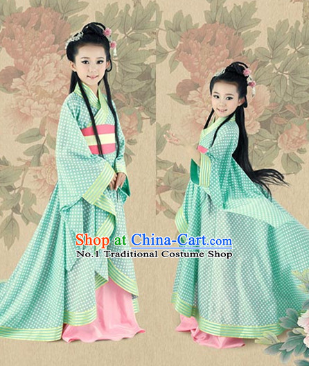 Asian Fashion Chinese Princess Costumes and Hair Accessories Complete Set for Kids