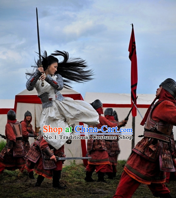 Asian Fashion Chinese Female General Costumes Complete Set