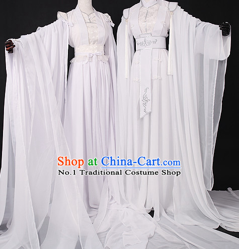 Chinese Pure White Romantic Wedding Gowns Hanfu Costumes Halloween Costumes for Men and Women