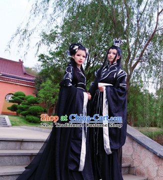Chinese Black Male and Female Hanfu Cosplay Halloween Costumes Carnival Costumes 2 Sets