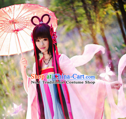 Chinese Halloween Costumes Traditional Clothing China Shop Fairy Kimono Dress and Hair Accessories