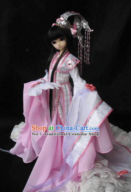 China Civilization Chinese Pink Hanfu Clothing and Hair Jewelry Complete Set for Women