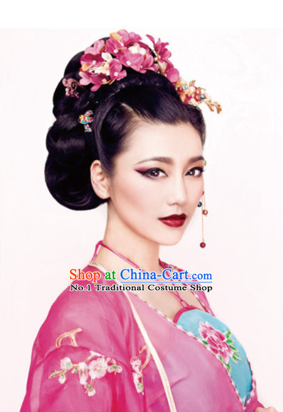 Chinese Traditional Style Female Black Wig and Hair Accessories Hair Jewelry