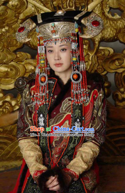 Chinese Ancient Mongolian Emperss Costumes and Hat Complete Set for Women