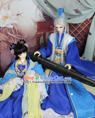 Chinese Blue Lover Costumes and Hair Jewelry Complete Set for Men and Women