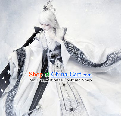 Asian Fashion Chinese Prince Cosplay Costumes and Hair Jewelry Complete Set for Men