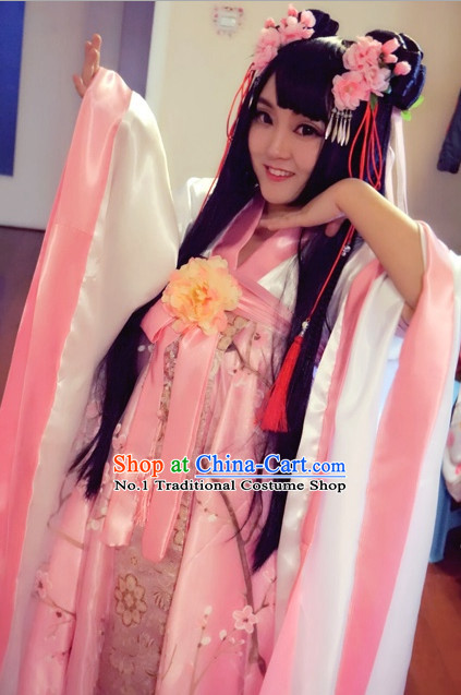 Asian Fashion Chinese Cherry Blossom Hanfu Clothes Complete Set for Women