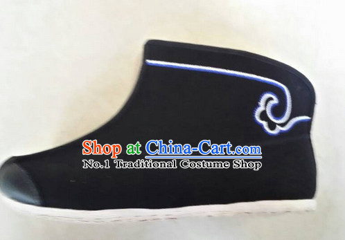 Chinese Traditional Kung Fu Black Short Boots
