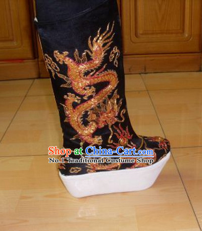 Handmade Chinese Traditional Dragon Embroidery Boots Footwear