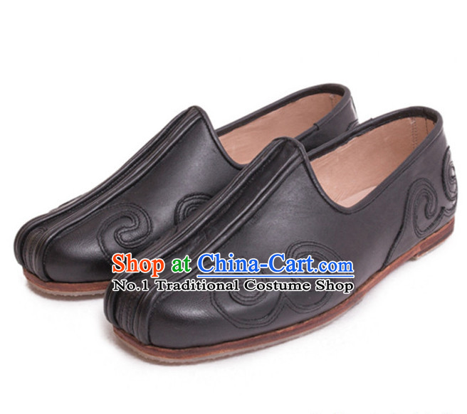 Chinese Men's Black Cotton Flat Shoes Rubber Sole Slipper UK Size 5.5-9.5 New