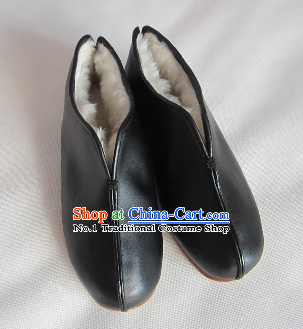 Handmade Chinese Traditional Leather Winter Shoes online Shopping Footwear