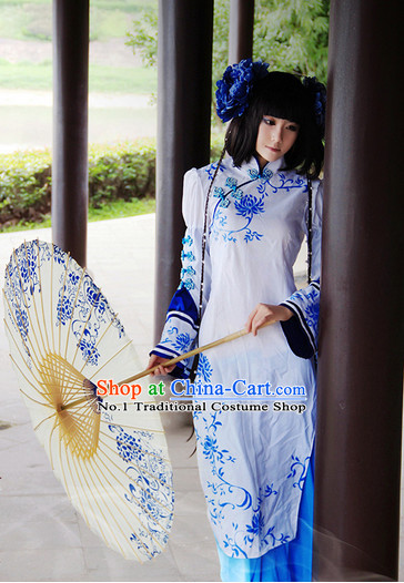 Chinese Classical Costumes and Handmade Umbrella Headwear Complete Set