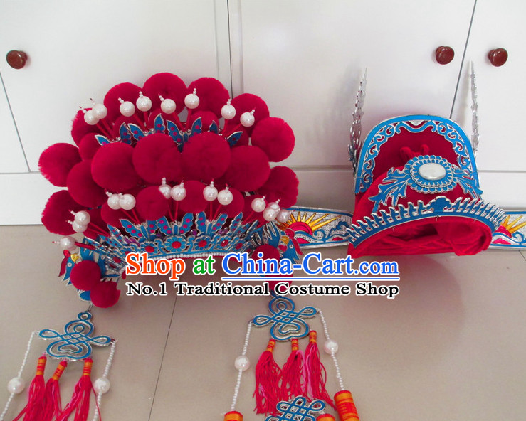 Lucky Red Asian Fashion Oriental Wedding Hat and Phoenix Crown for Men and Women