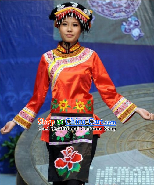 Asian Fashion Chinese Traditional Ethnic Clothing and Hat Complete Set