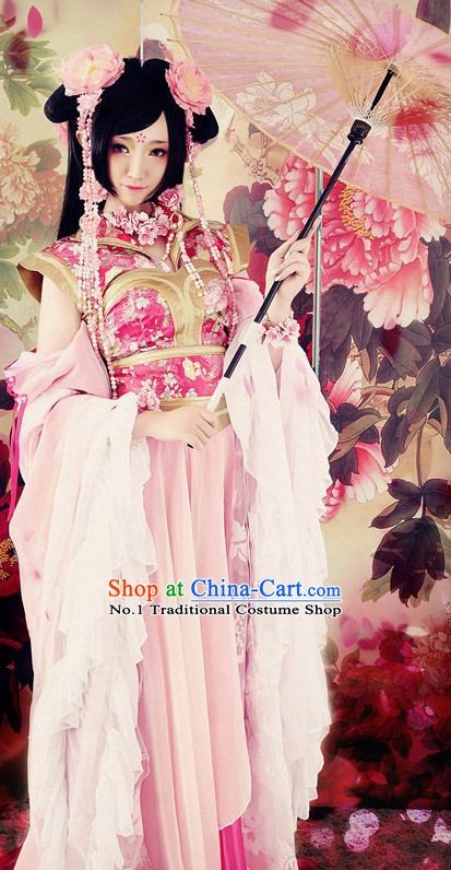 Chinese Traditional Princess Hanfu Suit and Headdresses Complete Set