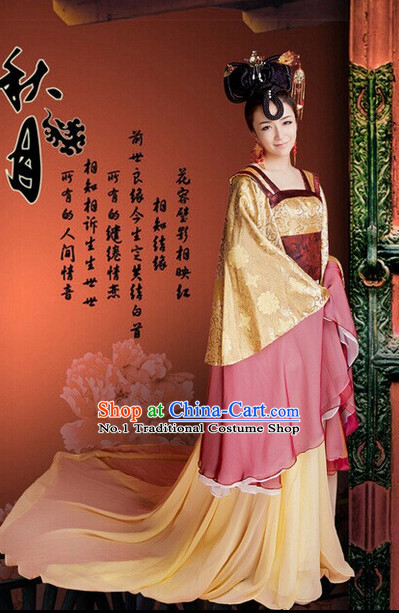 Long Trail Chinese Traditional Tang Dynasty Costumes and Headdresses Complete Set