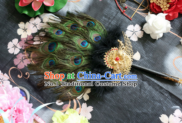 Chinese Imperial Empress Peacock Feather Fan