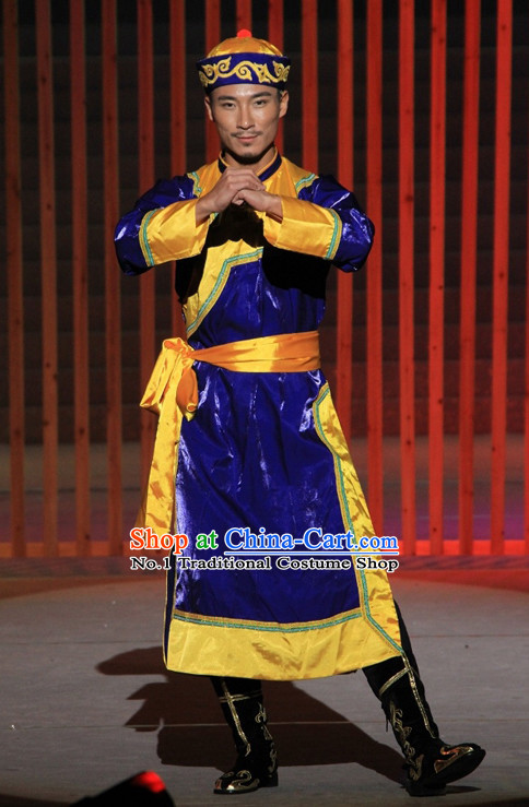 Chinese Mongolian Ethnic Clothing and Hat for Men