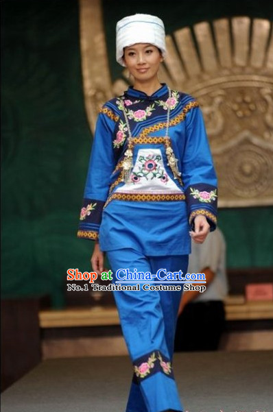 Chinese Traditional Ethnic Clothing and Hat Complete Set for Women