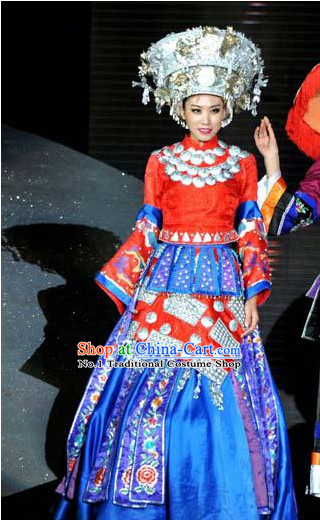 Oriental Clothing Chinese Traditional Miao Clothing for Sale Ethnic Plus Size Clothes and Hat online
