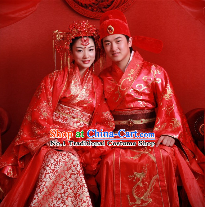 Oriental Clothing Chinese Wedding Clothes and Hats for Bridal Couples