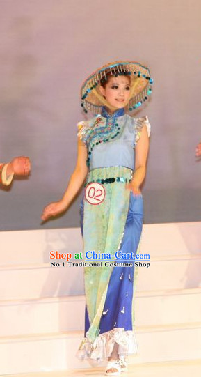 Oriental Clothing Chinese Dance Costumes and Hat Cheap Dance Costumes