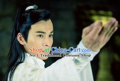 Chinese Classical Swordman Guzhuang Long Black Wig
