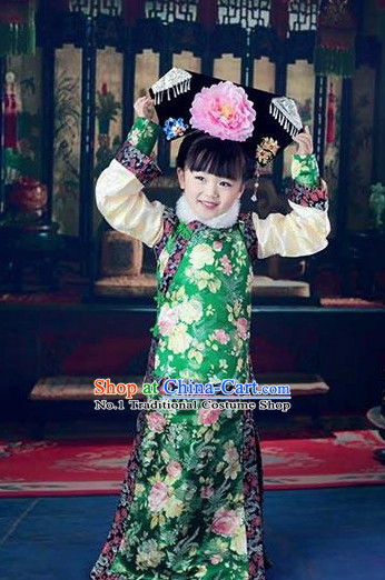 Chinese Qing Dynasty Princess Kids Costumes and Headdress Complete Set