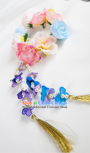 Chinese Traditional Flower Hair Fascinators Hair Slides Headpieces Hair Ornaments