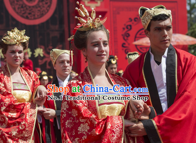 Asian Chinese Red Wedding Custom Made Costumes and Phoenix Headdresses for Women
