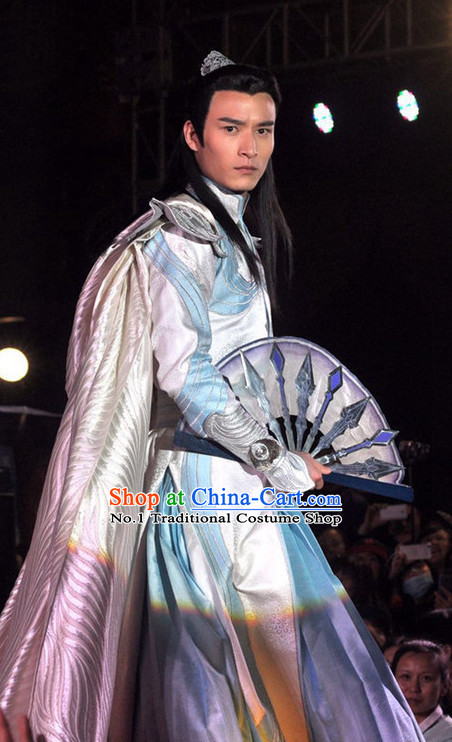 Asian Chinese Traditional General Costumes and Coronet Complete Set for Men