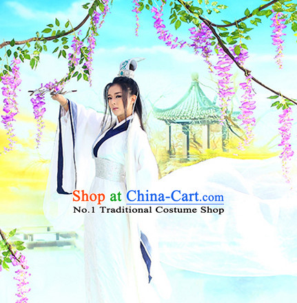 Asian Chinese Traditional White Hanfu Costumes and Coronet Complete Set