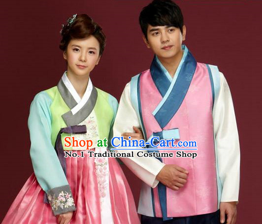 Traditional Korean Custom Made Special Day Customized Hanbok Dress Complete Set for Couple