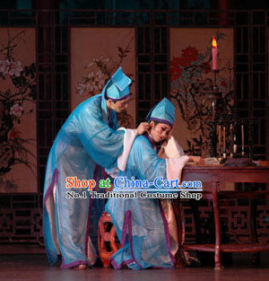 Chinese Traditional Scholar Blue Costumes and Hat