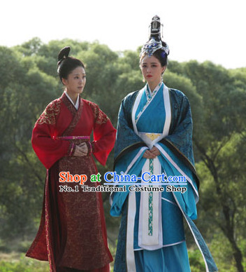Blue Chinese TV Drama Series Empress and Hair Accessories Complete Set for Women