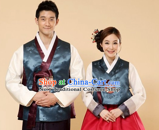 Traditional Korean Custom Made Couple Ceremonial Hanbok Complete Set
