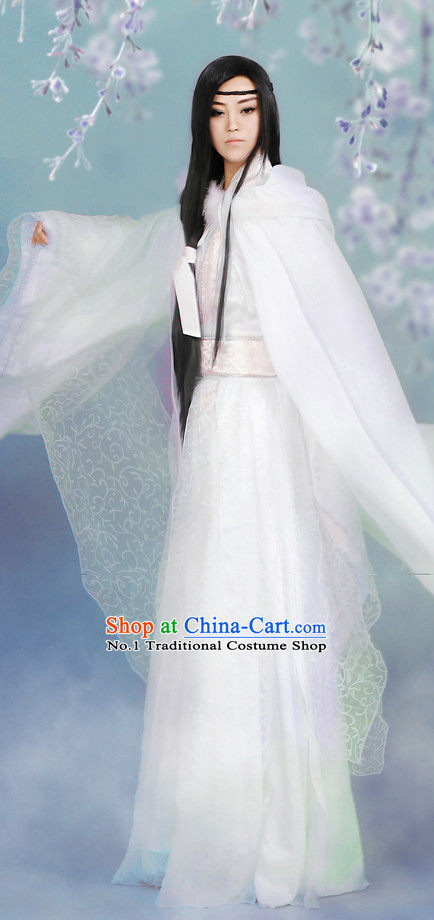 Asia Fashion Ancient China Culture Chinese White Hanfu Clothes for Men