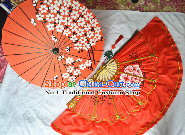 Chinese Traditional Handmade Umbrella and Fan Set