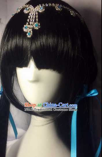 Asian Traditional Chinese Long Wig Ancient Costume Wigs and Hair Accessories for Women