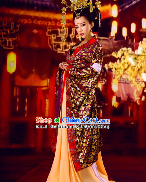 Asian Fashion Chinese Empress Costumes and Hat Complete Set