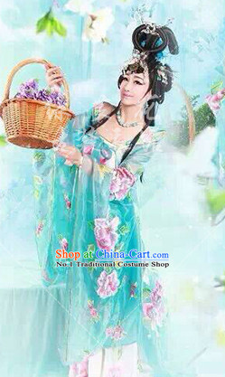 Asian Fashion Chinese Ancient Empress Costume and Hair Accessories Complete Set