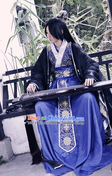 Asia Fashion Chinese Ancient Musician Costumes and Coronet Complete Set