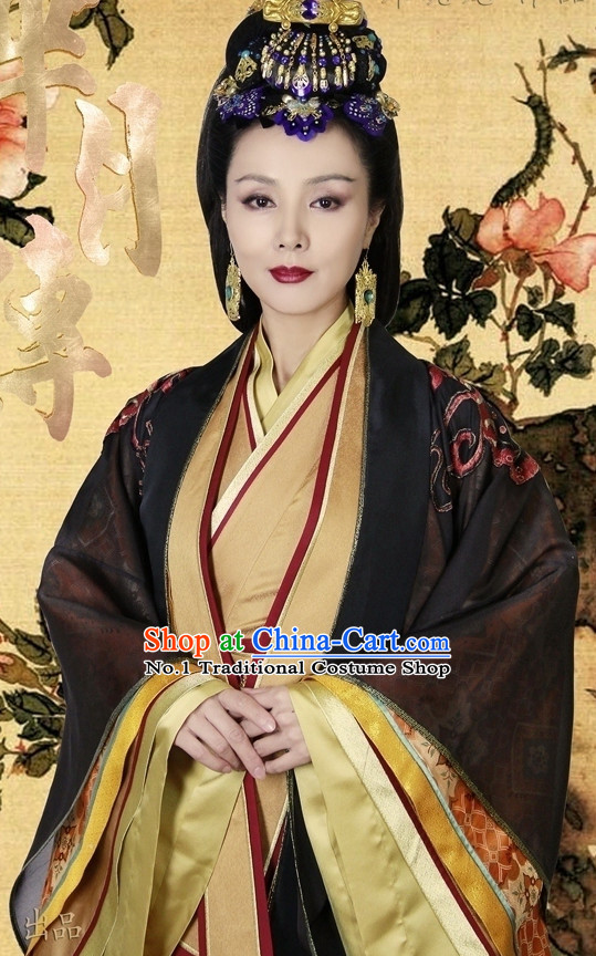 Chinese Ancient Queen Mother Hanfu Clothing and Hair Accessories Complete Set