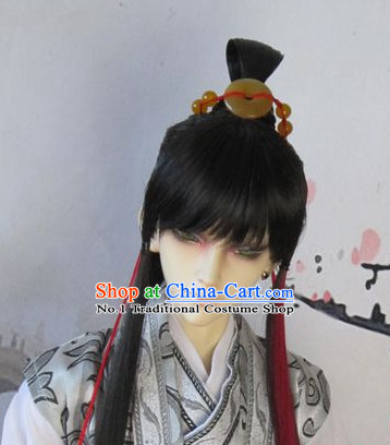 Chinese Traditional Black Wig and Jade Hair Jewelry