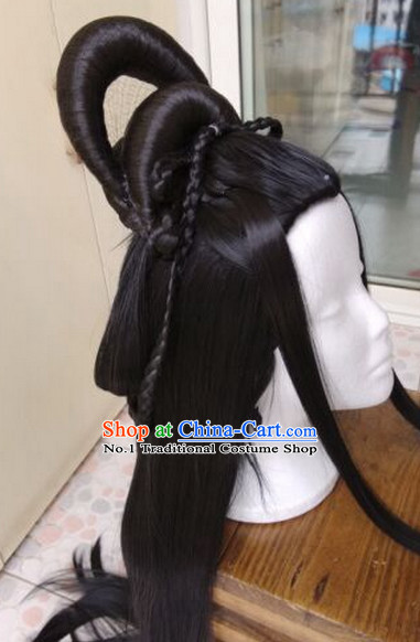 Chinese Ancient Costume Empress Long Black Wig