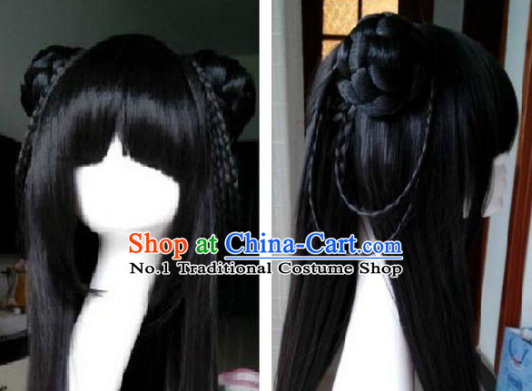 Chinese Ancient Dress Long Black Wig